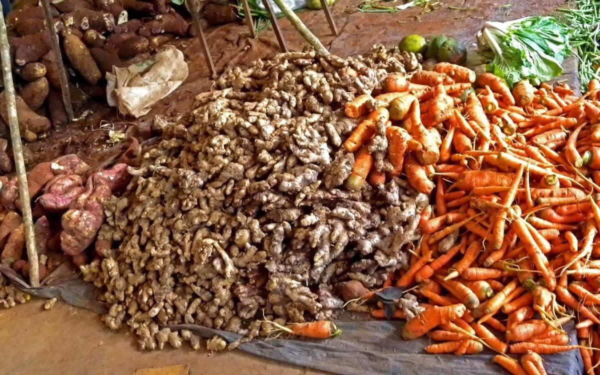 Wurzelgemüse wird auf karibischen Märkten angeboten.